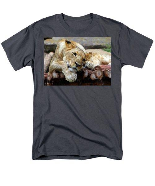 Lion Resting Men's T-Shirt  (Regular Fit) by Inspirational Photo Creations Audrey Woods