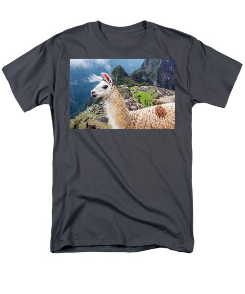 Llama At Machu Picchu Men's T-Shirt  (Regular Fit) by Jess Kraft