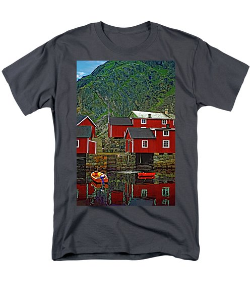 Lofoten Fishing Huts Men's T-Shirt  (Regular Fit) by Steve Harrington