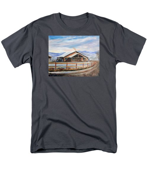 Men's T-Shirt  (Regular Fit) featuring the painting Log Cabin House In Winter by Sherril Porter