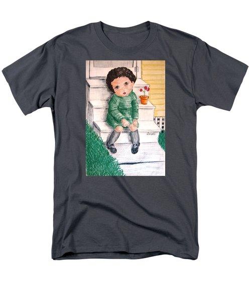 Lonley Girl On Back Step Men's T-Shirt  (Regular Fit)
