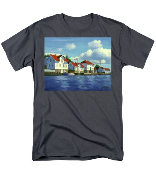 Men's T-Shirt  (Regular Fit) featuring the painting Loshavn Village Norway by Janet King