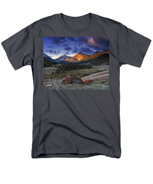 Men's T-Shirt  (Regular Fit) featuring the photograph Lost River Mountains Moon by Leland D Howard