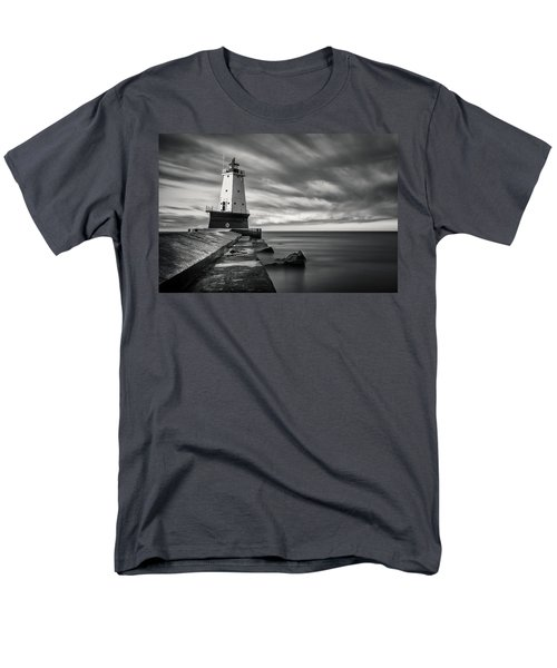 Men's T-Shirt  (Regular Fit) featuring the photograph Ludington Light Black And White by Adam Romanowicz