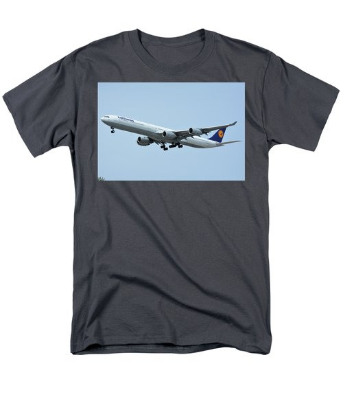 Men's T-Shirt  (Regular Fit) featuring the photograph Lufthansa Airbus A340-600 D-aihw Los Angeles International Airport May 3 2016 by Brian Lockett