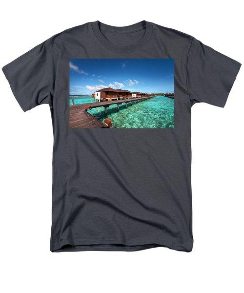 Men's T-Shirt  (Regular Fit) featuring the photograph Luxury Water Villas Of Maldivian Resort by Jenny Rainbow