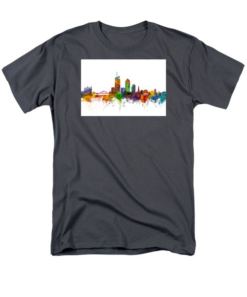 Lyon Skyline Cityscape France Men's T-Shirt  (Regular Fit) by Michael Tompsett