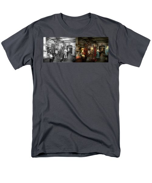 Men's T-Shirt  (Regular Fit) featuring the photograph Machinist - Government Approved 1919 - Side By Side by Mike Savad