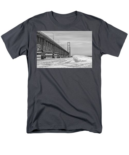 Men's T-Shirt  (Regular Fit) featuring the photograph Mackinac Bridge Icy Black And White  by John McGraw