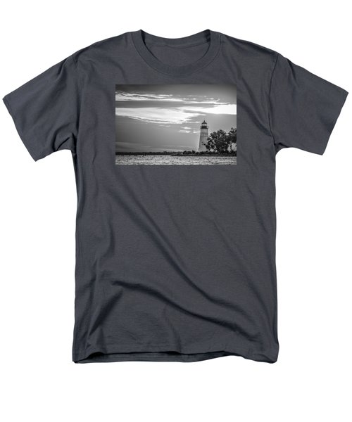 Men's T-Shirt  (Regular Fit) featuring the photograph Madisonville Lighthouse In Black-and-white by Andy Crawford