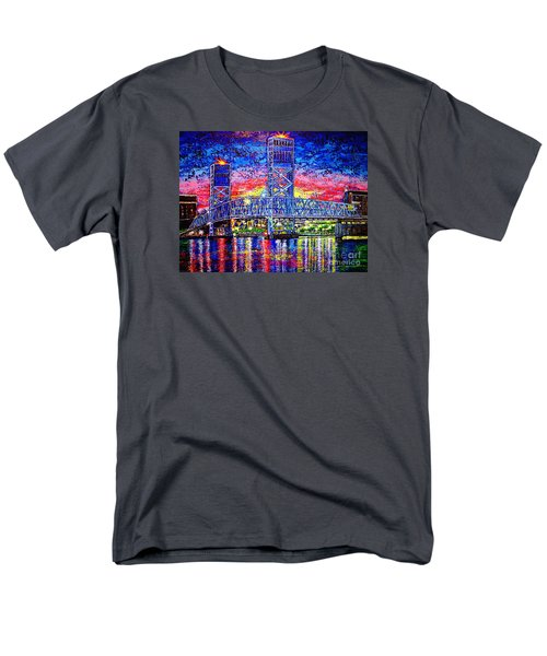 Men's T-Shirt  (Regular Fit) featuring the painting Main St. Bridge by Viktor Lazarev