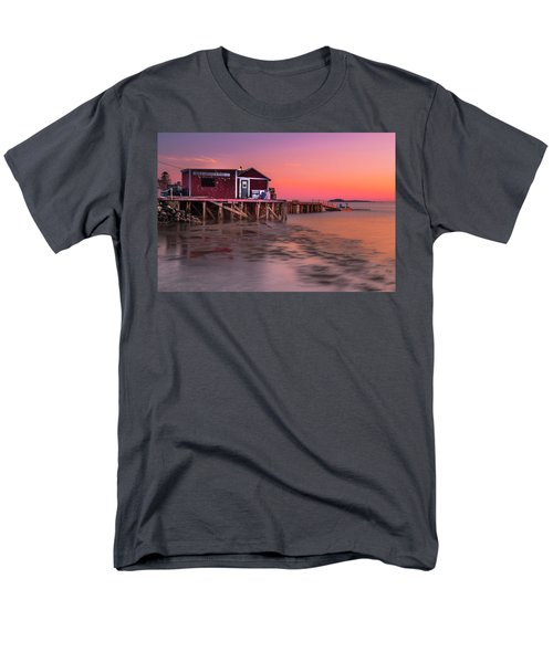 Men's T-Shirt  (Regular Fit) featuring the photograph Maine Coastal Sunset At Dicks Lobsters - Crabs Shack by Ranjay Mitra