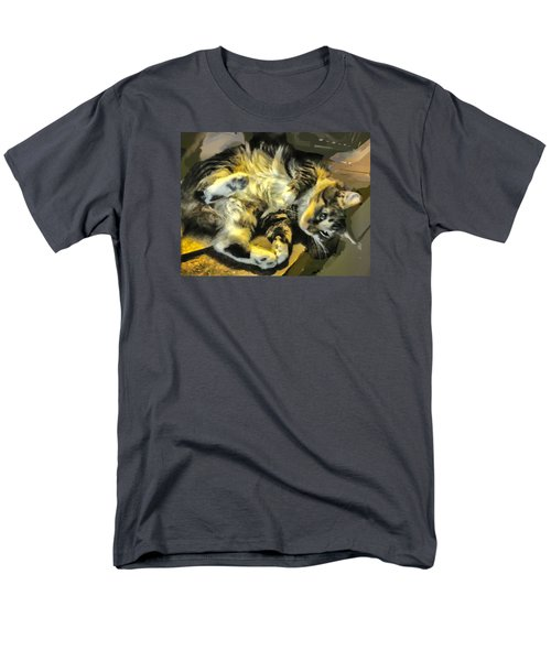 Men's T-Shirt  (Regular Fit) featuring the photograph Maine Coon Cat At Play by Constantine Gregory