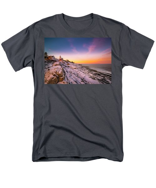 Men's T-Shirt  (Regular Fit) featuring the photograph Maine Pemaquid Lighthouse In Winter Snow by Ranjay Mitra