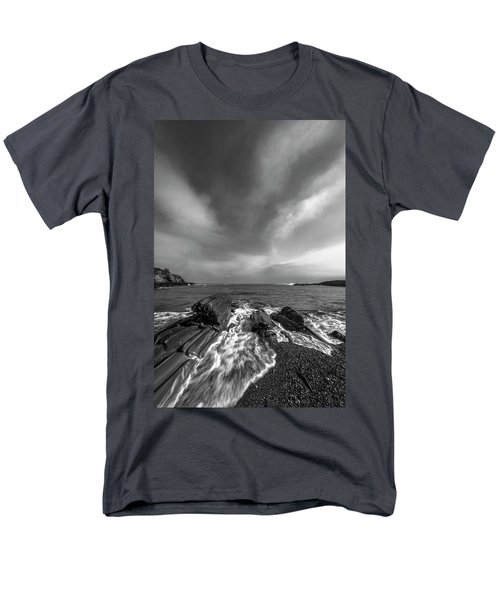Maine Storm Clouds And Crashing Waves On Rocky Coast Men's T-Shirt  (Regular Fit) by Ranjay Mitra