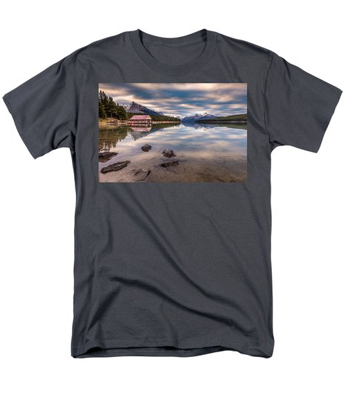 Maligne Lake Boat House Sunrise Men's T-Shirt  (Regular Fit) by Pierre Leclerc Photography