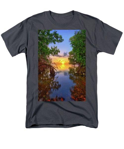 Mangrove Sunset From Jensen Beach Florida Men's T-Shirt  (Regular Fit) by Justin Kelefas