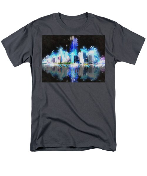 Men's T-Shirt  (Regular Fit) featuring the painting Manhattan Downtown Lights by Kai Saarto