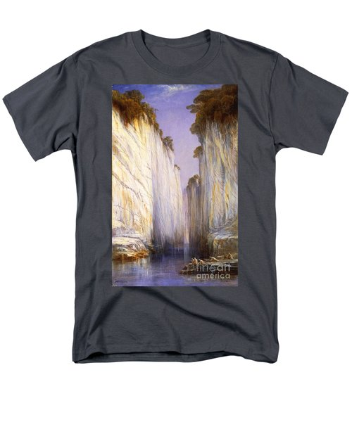 Men's T-Shirt  (Regular Fit) featuring the painting Marble Rocks - Nerbudda Jubbulpore by Pg Reproductions