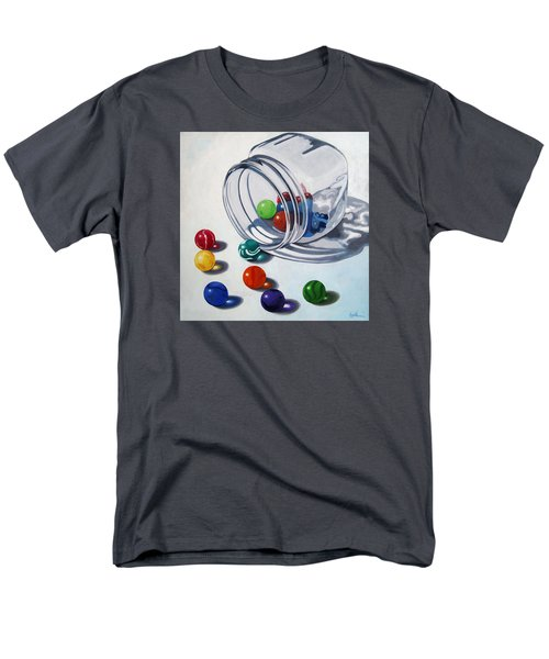 Marbles And Glass Jar Still Life Painting Men's T-Shirt  (Regular Fit) by Linda Apple