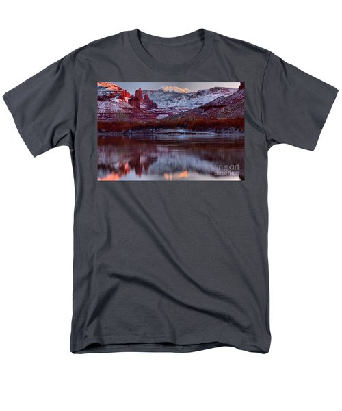 Men's T-Shirt  (Regular Fit) featuring the photograph Maroon Fisher Towers by Adam Jewell