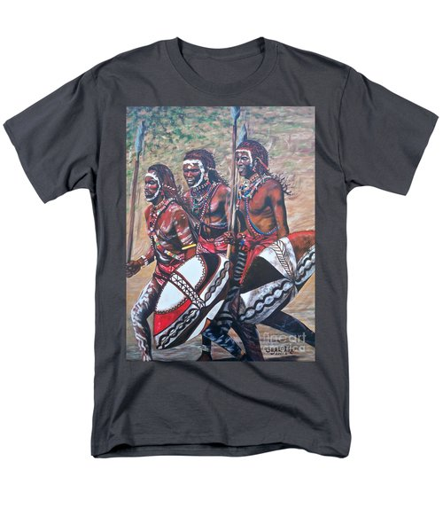 Men's T-Shirt  (Regular Fit) featuring the painting Masaai Warriors by Sigrid Tune