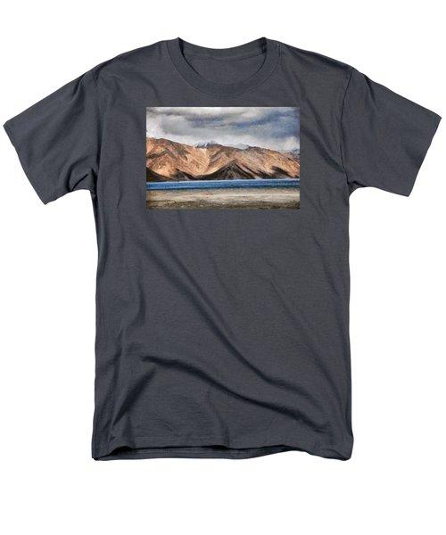 Massive Mountains And A Beautiful Lake Men's T-Shirt  (Regular Fit) by Ashish Agarwal