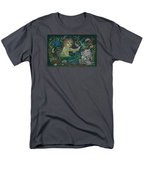 Men's T-Shirt  (Regular Fit) featuring the drawing Merbaby Golden Green by Dawn Fairies
