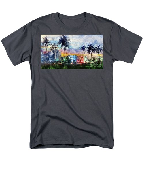 Miami Beach Watercolor Men's T-Shirt  (Regular Fit) by Jon Neidert