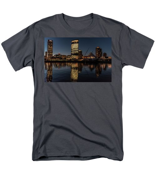 Men's T-Shirt  (Regular Fit) featuring the photograph Milwaukee Reflections by Randy Scherkenbach