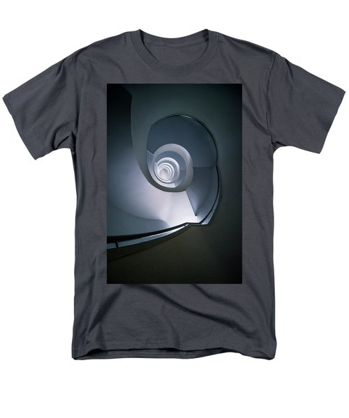 Men's T-Shirt  (Regular Fit) featuring the photograph Modern Blue Spiral Staircase by Jaroslaw Blaminsky