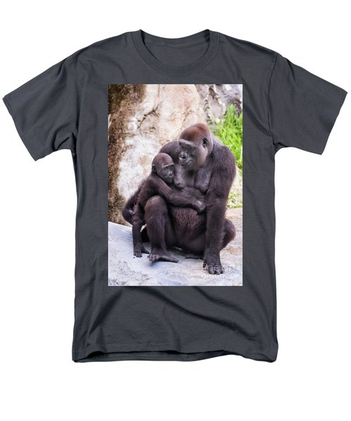 Mom And Baby Gorilla Sitting Men's T-Shirt  (Regular Fit) by Stephanie Hayes