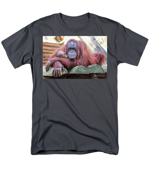 Mom And Baby Orangutan Men's T-Shirt  (Regular Fit) by Stephanie Hayes