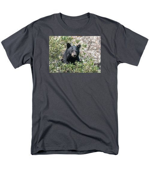 Momma Black Bear Eating Berries Men's T-Shirt  (Regular Fit) by Stephen  Johnson