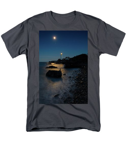 Men's T-Shirt  (Regular Fit) featuring the photograph Moon Light Over The Lighthouse  by Emmanuel Panagiotakis