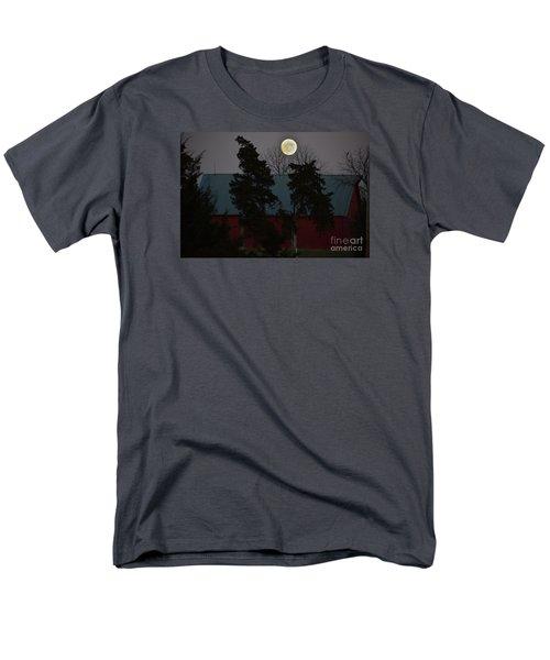 Men's T-Shirt  (Regular Fit) featuring the photograph Moon Over A Kansas Barn by Mark McReynolds