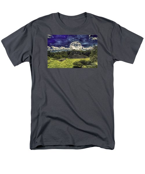 Men's T-Shirt  (Regular Fit) featuring the photograph Moon Over Mayan Temple Two by Ken Frischkorn