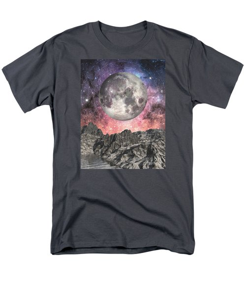 Men's T-Shirt  (Regular Fit) featuring the digital art Moon Over Mountain Lake by Phil Perkins