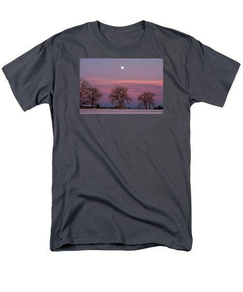 Men's T-Shirt  (Regular Fit) featuring the photograph Moon Over Pink Llouds by Monte Stevens
