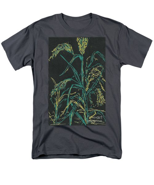 Men's T-Shirt  (Regular Fit) featuring the mixed media Moonlight Wheat by Vicki  Housel