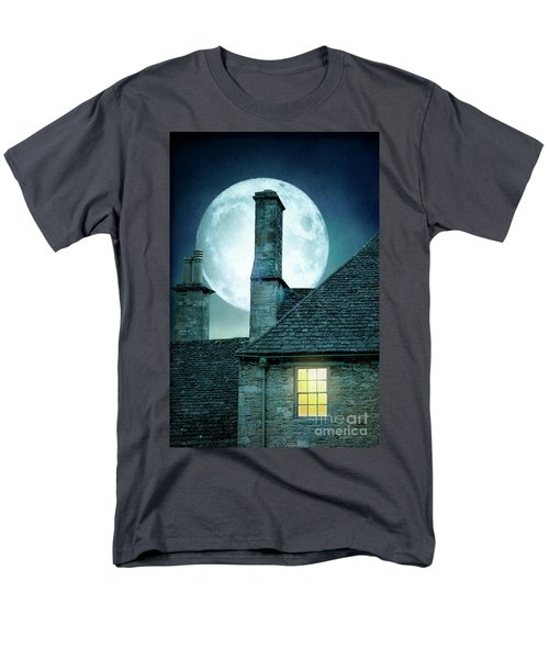 Moonlit Rooftops And Window Light  Men's T-Shirt  (Regular Fit) by Lee Avison