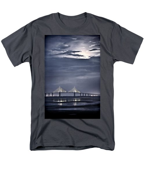 Men's T-Shirt  (Regular Fit) featuring the photograph Moonrise Over Sunshine Skyway Bridge by Steven Sparks