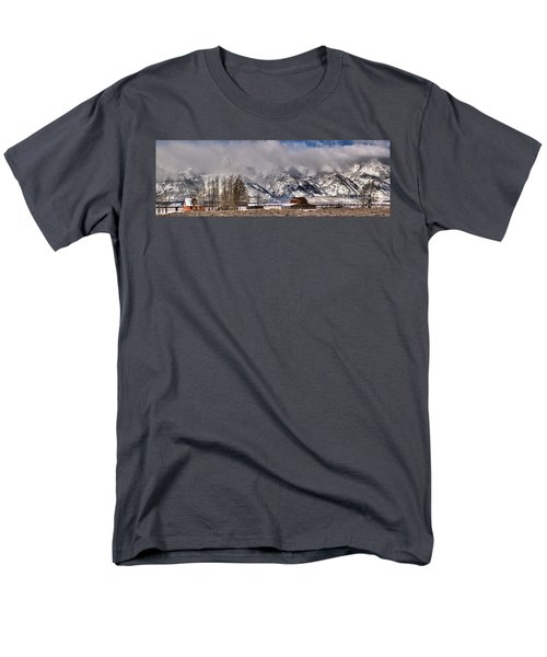 Men's T-Shirt  (Regular Fit) featuring the photograph Mormon Row Winter Panorama by Adam Jewell
