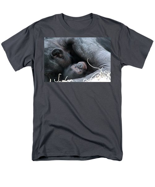 Mother Bonobo And Her Baby Men's T-Shirt  (Regular Fit) by Laurel Talabere