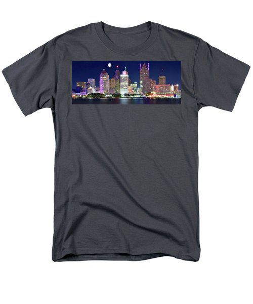 Men's T-Shirt  (Regular Fit) featuring the photograph Motor City Night With Full Moon by Frozen in Time Fine Art Photography