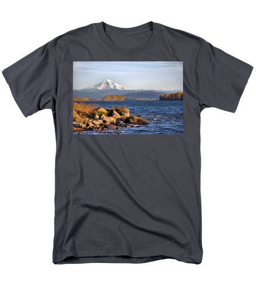 Mount Hood And The Columbia River Men's T-Shirt  (Regular Fit) by Jim Walls PhotoArtist