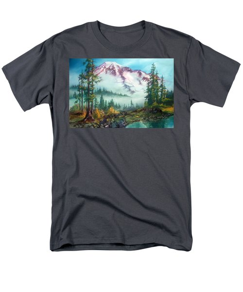 Men's T-Shirt  (Regular Fit) featuring the painting Mount Rainier by Sherry Shipley