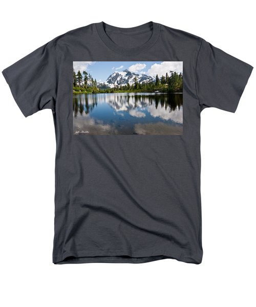 Mount Shuksan Reflected In Picture Lake Men's T-Shirt  (Regular Fit) by Jeff Goulden