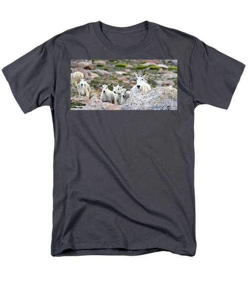Men's T-Shirt  (Regular Fit) featuring the photograph Mountain Goat Family Panorama by Scott Mahon