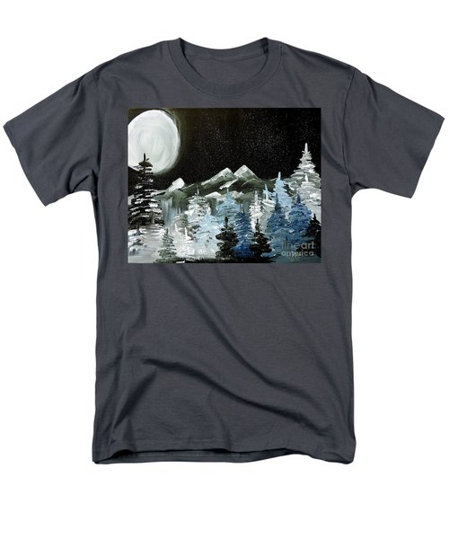 Men's T-Shirt  (Regular Fit) featuring the painting Mountain Winter Night by Tom Riggs